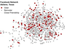 "Illustrative map of part of the social network of ""close friends"" from Abilene, Texas, who logged in on Election Day in 2010."