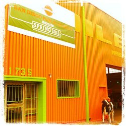 The freshly painted warehouse housing the San Diego Public Market, with mascot cow!