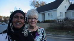 Campaign manager Amina Osman with Clarkston City Council member Dianne Leonetti, Clarkston, Georgia.