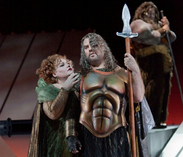 Stephanie Blythe as Fricka and Bryn Terfel as Wotan in Wagner&#39;s &quot;Das Rheingold&quot; in Robert Lepage&#39;s production.
