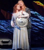 Deborah Voigt as Brnnhilde and Jay Hunter Morris as Siegfried in Wagner&#39;s Gtterdmmerung.