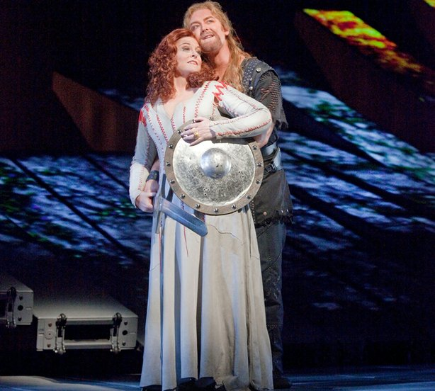 "Deborah Voigt as Brünnhilde and Jay Hunter Morris as Siegfried in Wagner's ""Götterdämmerung."""