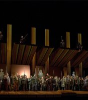 A scene from Act II of Wagner&#39;s Gtterdmmerung.