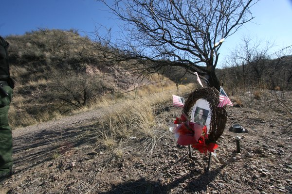 A makeshift memorial to murdered U.S. Border Patrol Agent Brian Terry in Southern Arizona.