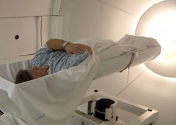 Kurt Thompson receiving proton beam therapy for prostate cancer.