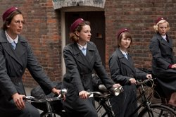 Miranda Hart as Chummy, Jessica Raine as Jenny, Bryony Hannah as Cynthia, Helen George as Trixie in CALL THE MIDWIFE.