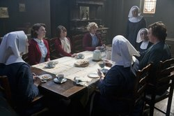 Judy Parfitt as Sister Monica Joan, Jessica Raine as Jenny, Bryony Hannah as Cynthia, Helen George as Trixie, Jenny Agutter as Sister Julienne, Laura Main as Sister Bernadette, Miranda Hart as Chummy, Pam Ferris as Sister Evangelina in CALL THE MIDWIFE.