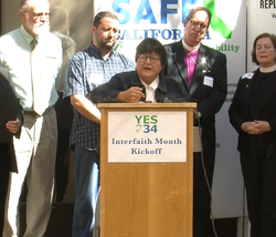 Sister Helen Prejean stood at the podium as she and a dozen San Diego religious leaders urged the faithful to vote for Proposition 34, which would repeal the death penalty in California.