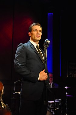 "Actor Luke Macfarlane in La Jolla Playhouse's production of ""Sam Bendrix at the Bon Soir,"" now playing at Martini's Above Fourth in Hillcrest through October 17."