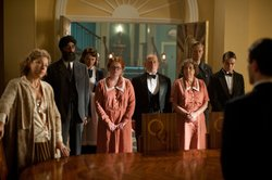 Shown from left to right: Alex Kingston as Blanche Mottershead, Art Malik as Mr. Amanjit, Laura Haddock as Beryl Ballard, Amy Metcalf as Eunice, Adrian Scarborough as Mr. Pritchard, Anne Reid as Mrs. Thackeray, Neil Jackson as Harry Spargo and Nico Mirallegro as Johnny Proude.