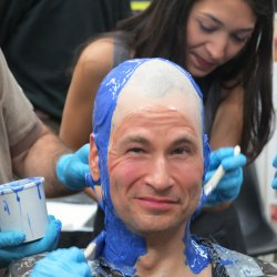 David Pogue having his head cast for a Neanderthal mask.