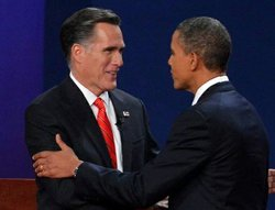 US President Barack Obama (R) and Republican Presidential candidate Mitt Romney (L) shake hands moments before the start of the first presidential debate at Magness Arena at the University of Denver in Denver, Colorado, October 3, 2012.