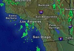 Doppler Radar map shows the low pressure system approaching San Diego on October 11, 2012.