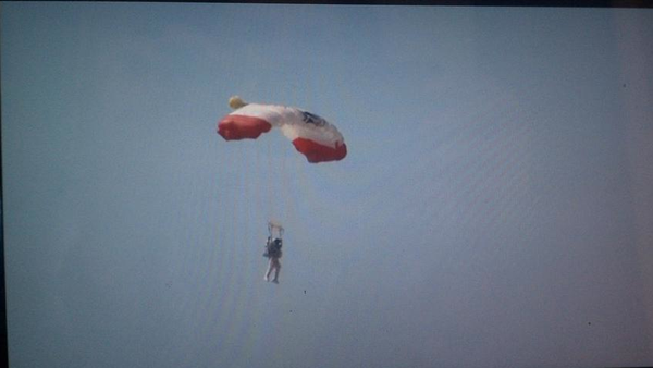 Daredevil Felix Baumgartner floating safely to ground.