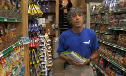 Jimbo Someck, the owner of Jimbo&#39;s Naturally grocery stores, explains the non-GMO labeling he uses in his store.