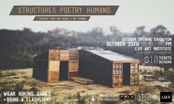"The invitation for artist Wes Bruce's opening reception, ""Structures Poetry Humans,"" at Lux Art Institute."