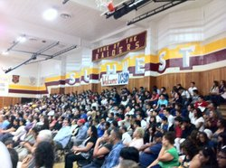 Students assembled in Southwest High School's gym to hear UC San Diego Chancellor Pradeep Khosla, Oct. 18, 2012. Students participated in seminars on preparing to apply to college and personal essay writing. Parents were also invited to attend a workshop on financial aid.