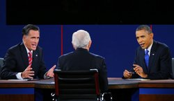 President Barack Obama (R) debates with Republican presidential candidate Mitt Romney as moderator Bob Schieffer (C) of CBS looks on at the Keith C. and Elaine Johnson Wold Performing Arts Center at Lynn University on October 22, 2012 in Boca Raton, Florida.