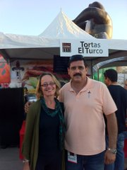 Alisa Barba with Tortas de Turco owner Luis Fitch.