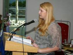 Heather Macomber, a tenth grader at High Tech High International, reads from her award-winning essay. She took home the grand prize, $500 Jack & Carolyn Winer Memorial Award, at the 2012 essay contest awards ceremony.