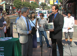 "National City Mayor Ron Morrison (right) received a plaque to honor his city as the most ""walkable"" city in all of San Diego County."