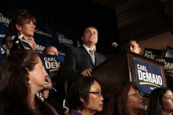 San Diego mayoral candidate Carl DeMaio speaks to his supporters at the US Grant on November 6, 2012.