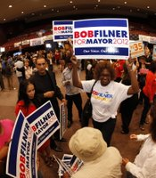 Supporters of San Diego mayoral candidate Rep. Bob Filner (D) at Golden Hall on November 6, 2012.