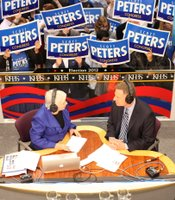 KPBS anchor Peggy Pico interviews Congressional candidate Scott Peters (D) at Golden Hall on November 6, 2012.