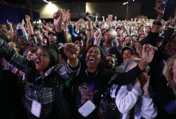 Supporters of U.S. President Barack Obama cheer during the Obama Election Night watch party at McCormick Place November 6, 2012 in Chicago, Illinois.