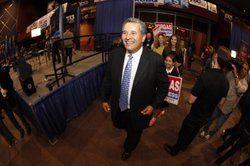 Democrat Juan Vargas greets supporters on Election Night, Nov. 6, 2012.