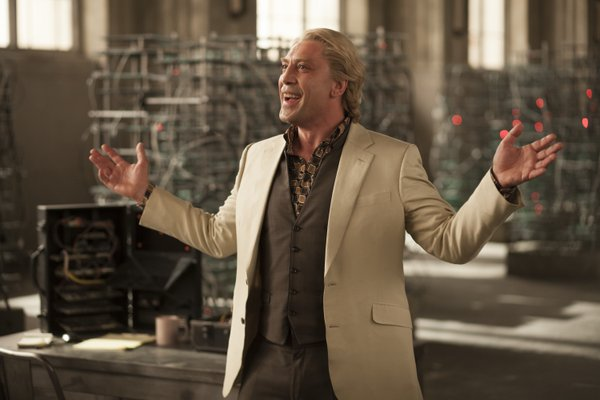 "Javier Bardem is Silva in ""Skyfall."""