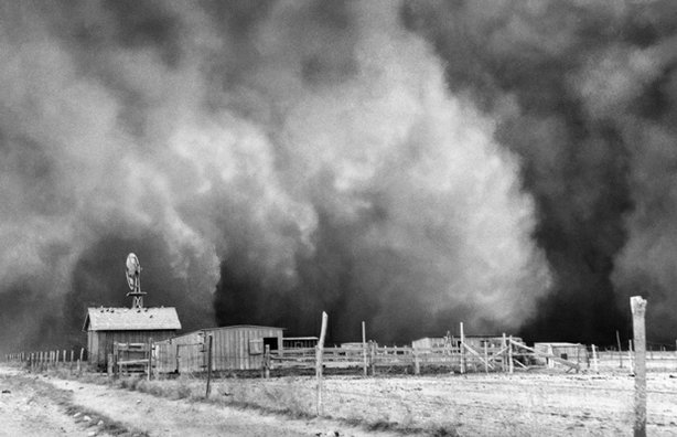 During the decade-long drought that turned the southern Plains into the Dust Bowl, the hardest hit area was centered on Boise City, Oklahoma, in a part of the Panhandle formerly known as No Mans Land. And the worst storm of all hit on Palm Sunday, April 14, 1935a day remembered as Black Sunday. Here the storm sweeps over a farmstead on its way toward Boise City.