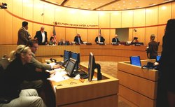 A board meeting of the Southern Nevada Water Authority ends in Las Vegas on Nov. 15, 2012.