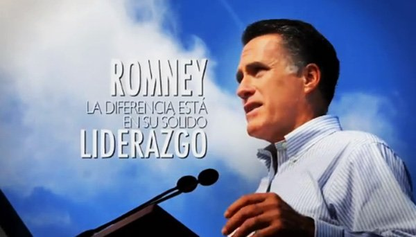 Gov. Mitt Romney in a Spanish-language television ad that aired during the 2012 presidential election.