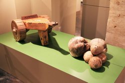 "A Chamorro coconut grater from Laos. On display at the ""Rites of Passage: Our Journeys Through Life"" exhibit."