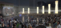A rendering of a movie projected onto a building in the new Horton Plaza park.