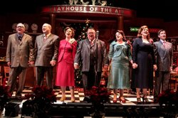 "The cast of Cygnet Theatre's ""A Christmas Carol,"" performed as a 1940s-era radio play."