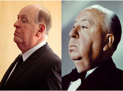 Anthony Hopkins (left) filling in the fat suit nicely as Mr. Alfred Hitchcock (right)