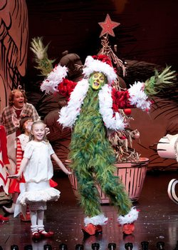 ilith Freund as Cindy-Lou Who and Steve Blanchard as The Grinch in Dr. Seuss' How the Grinch Stole Christmas! at The Old Globe.
