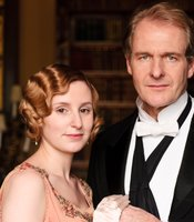 Laura Carmichael as Lady Edith Crawley and Robert Bathurst as Sir Anthony Strallan in MASTERPIECE CLASSIC &quot;Downton Abbey&quot; Season 3.
