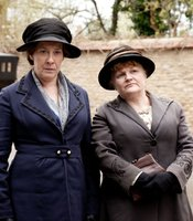 Phyliis Logan as Mrs. Hughes and Lesley Nicol as Mrs. Patmore in MASTERPIECE CLASSIC &quot;Downton Abbey&quot; Season 3.
