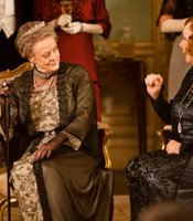 Maggie Smith as Lady Violet Crawley and Shirley MacLaine as Martha Levinson in MASTERPIECE CLASSIC &quot;Downton Abbey&quot; Season 3.