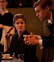Siobhan Finneran as Miss O&#39;Brien and Matt Milne as Alfred in MASTERPIECE CLASSIC &quot;Downton Abbey&quot; Season 3.