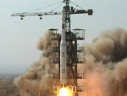 In this April 5, 2009 image, a rocket is lifted off from its launch pad in Musudan-ri, North Korea.