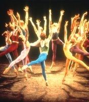 A stage still from the Joffrey Ballets Trinity, choreographed by Gerald Arpino.