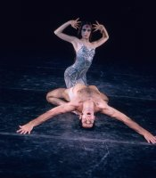 Trinette Singleton and Max Zamosa in the Joffrey Ballets Astarte, a psychedelic multimedia rock ballet, choreographed by Robert Joffrey.