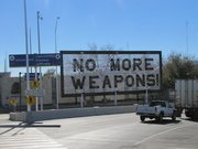 A sign in Ciudad, Juarez, Mex., made of confiscated firearms.