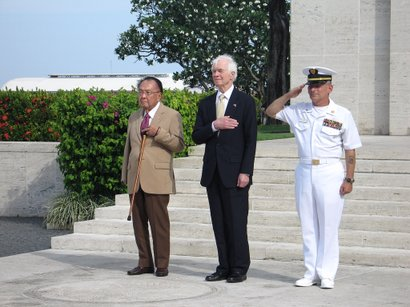 Senators Inouye (left) and Cochran (center) also visited the American Cemetery in Taguig City and paid their respects to soldiers who lost their lives during World War II.