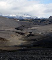 Valley with a snowy mountain, Iceland.