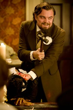 "Leonardo DiCaprio sinks his teeth into villainy as a slave owner in Quentin Tarantino's ""Django Unchained."""